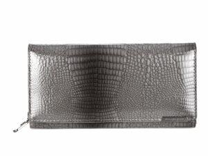 Poziomy duży portfel damski lakierowany szary