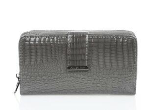 Szary portfel damski lakierowany duży Jennifer Jones