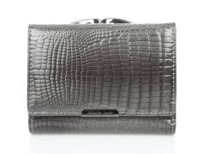 Poręczny portfel damski szary lakierowany Jennifer Jones