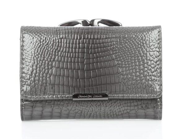 Szary lakierowany portfel damski na bigiel Jennifer Jones