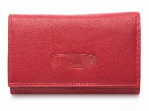 Duży portfel damski skórzany czerwony matowy