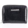 Mały czarny błyszczący portfel damski Jennifer Jones