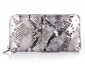 Srebrny portfel damski typu piórnik błyszczący Jennifer Jones
