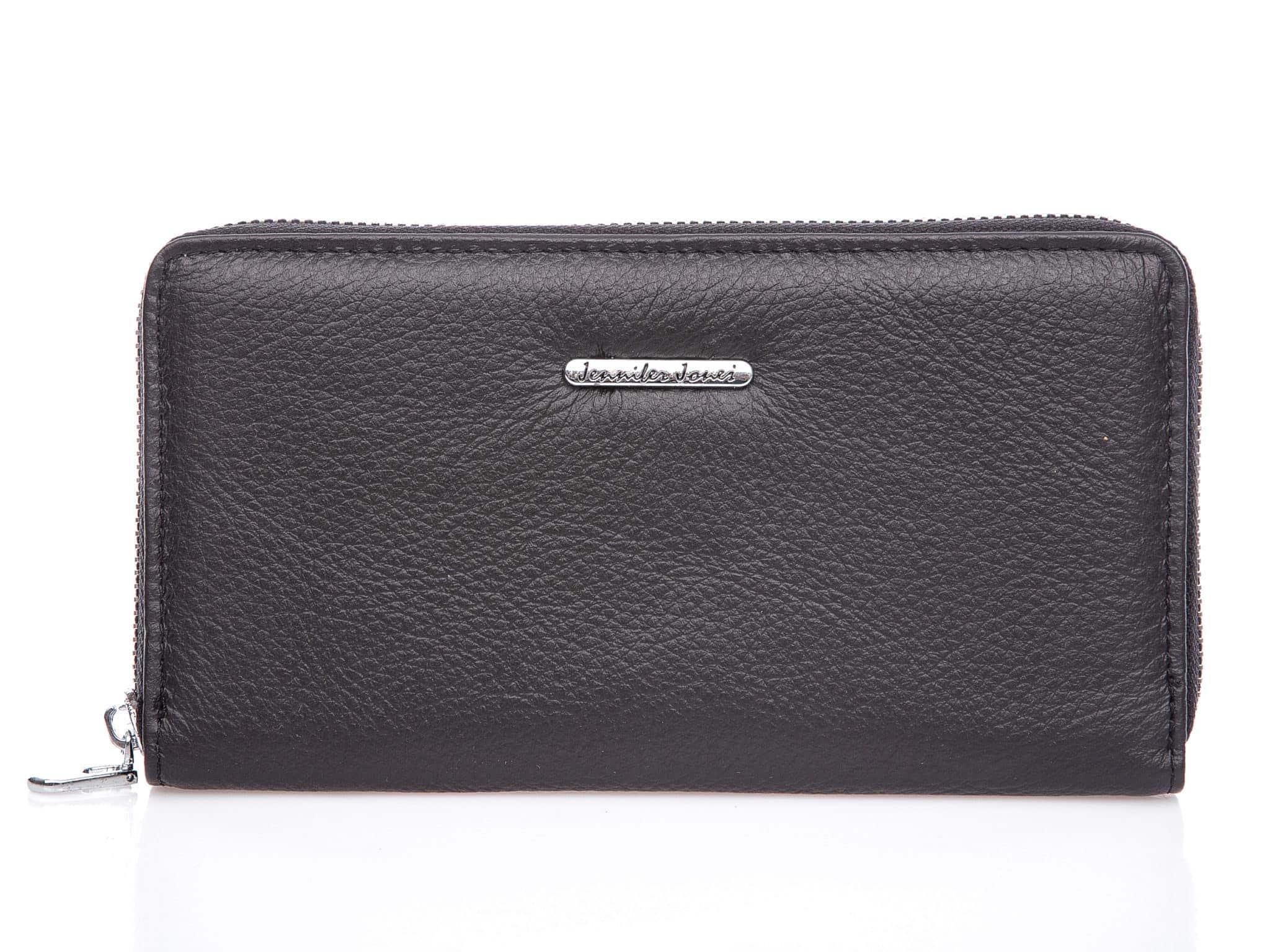 Czarny portfel damski piórnik z matowej skóry naturalnej