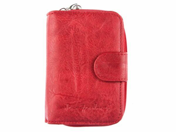 Średniej wielkości czerwony portfel damski ze skóry eko