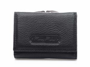 Czarny portfel męski skórzany matowy średni