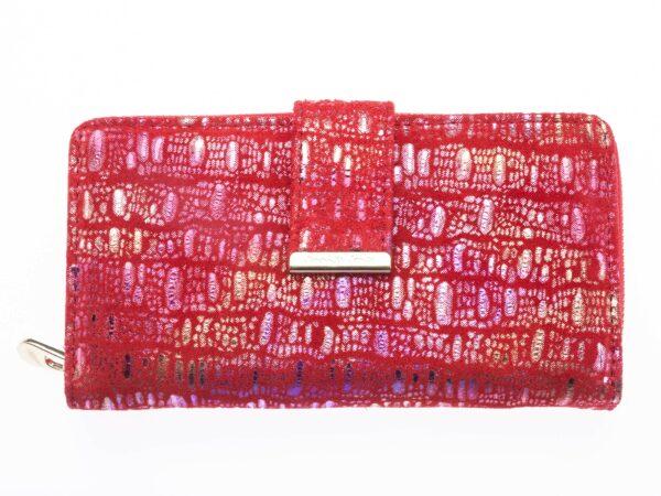 Błyszczący duży portfel damski różowo-czerwony Jennifer Jones