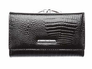 Czarny lakierowany portfel damski Jennifer Jones