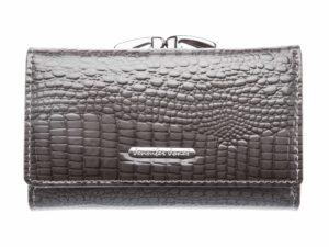 Szary portfel damski lakierowany z dwoma kieszeniami na bilon