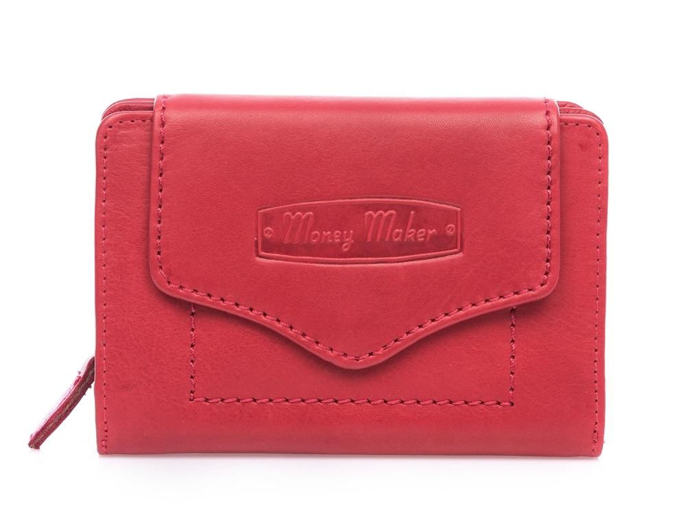 Money maker średni portfel czerwony z gładkiej skóry naturalnej