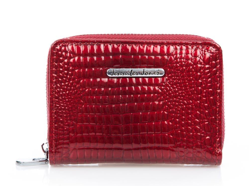 Czerwony portfel damski lakierowany kieszonkowy Jennifer Jones