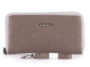 Beżowy duży portfel damski typu piórnik Jennifer Jones