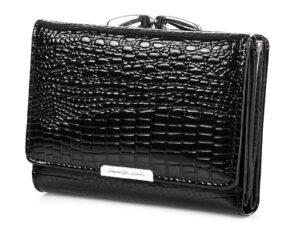 Średni portfel damski czarny lakierowany na bigiel Jennifer Jones