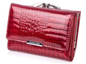 Wygodny czerwony portfel damski lakierowany Jennifer Jones z biglem