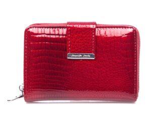 Średni portfel damski lakierowany czerwony Jennifer Jones