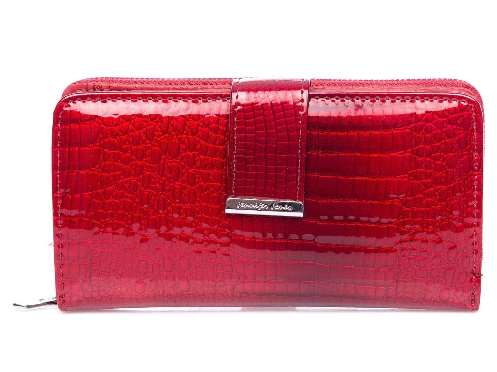 Czerwony duży lakierowany portfel damski Jennifer Jones