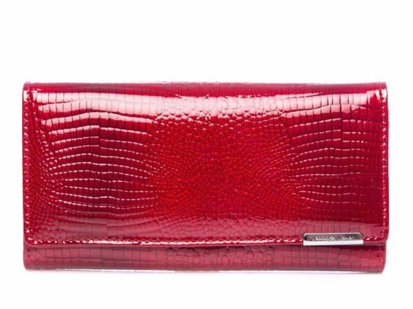 Duży poziomy portfel damski czerwony lakierowany Jennifer Jones