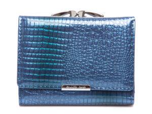 Niebieski lakierowany portfel damski średni Jennifer Jones